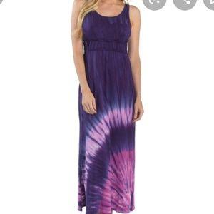 Prana purple tie dye sleeveless dress maxi slits